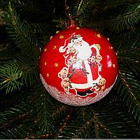 Игрушка   на елку красная с рисунком