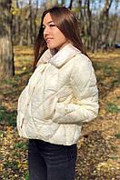 Женская куртка синтепон 8816 молочная, фото 1