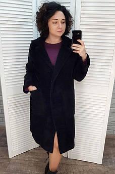 Пальто женское под альпаку черное 46-48 112666S