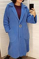 Пальто женское под альпаку голубое 50-52 9313