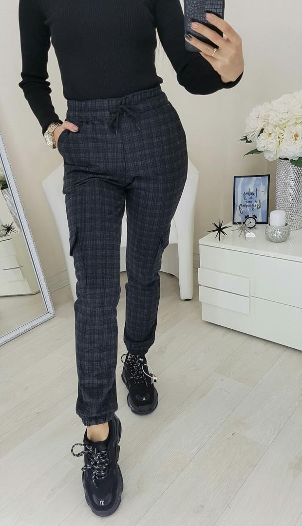 Брюки женские, стильные, теплые, офисные, шерсть байка в клетку повседневные, с карманами, до 48 р