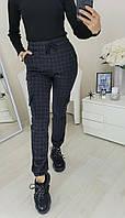 Брюки женские, стильные, теплые, офисные, шерсть байка в клетку повседневные, с карманами, до 48 р, фото 1