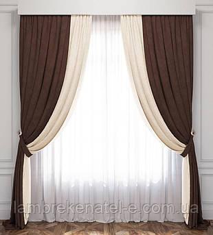 Готовые шторы с тюлью, ширина 4 метра