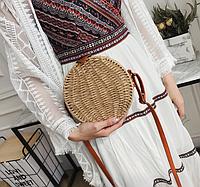 Плетеная круглая кориневая сумка