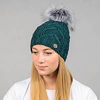 Вязаная женская шапка Nord с меховым помпоном Зеленый wpnpraha14, КОД: 388247