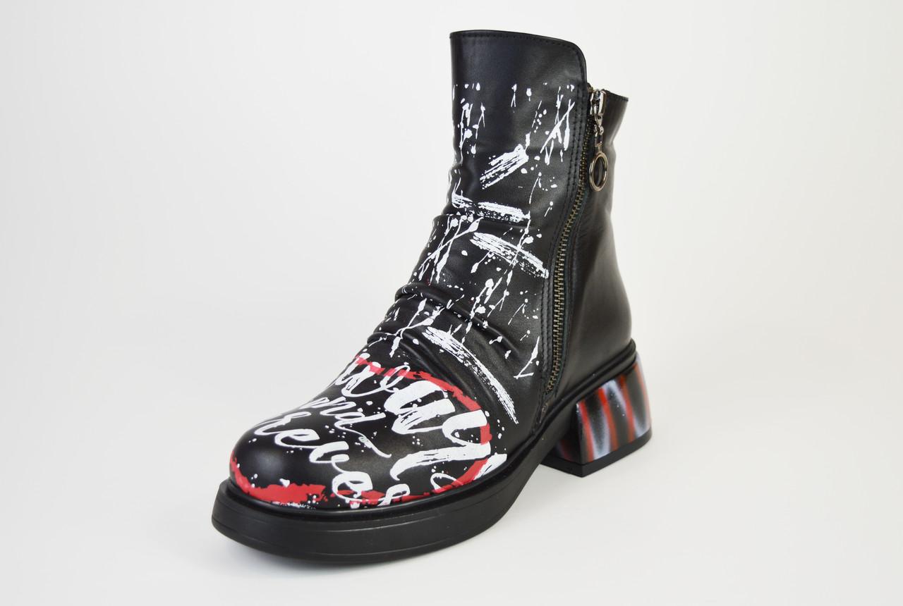 Ботинки кожаные с принтом Evromoda 1421900