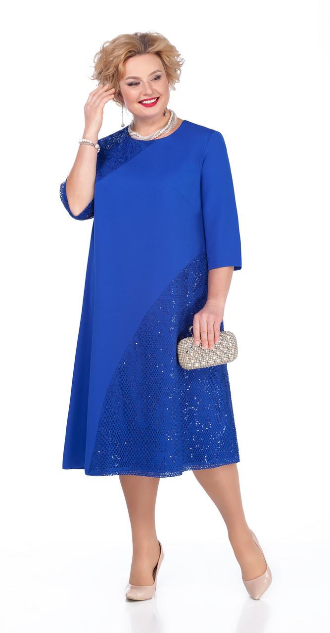 Платье Pretty-971/1 белорусский трикотаж, василек, 56