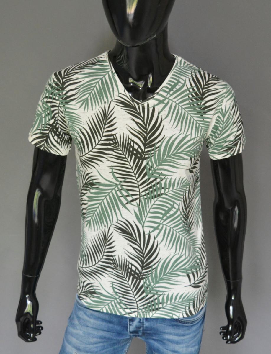 Мужская футболка белая с зеленым папоротником Турция 2415