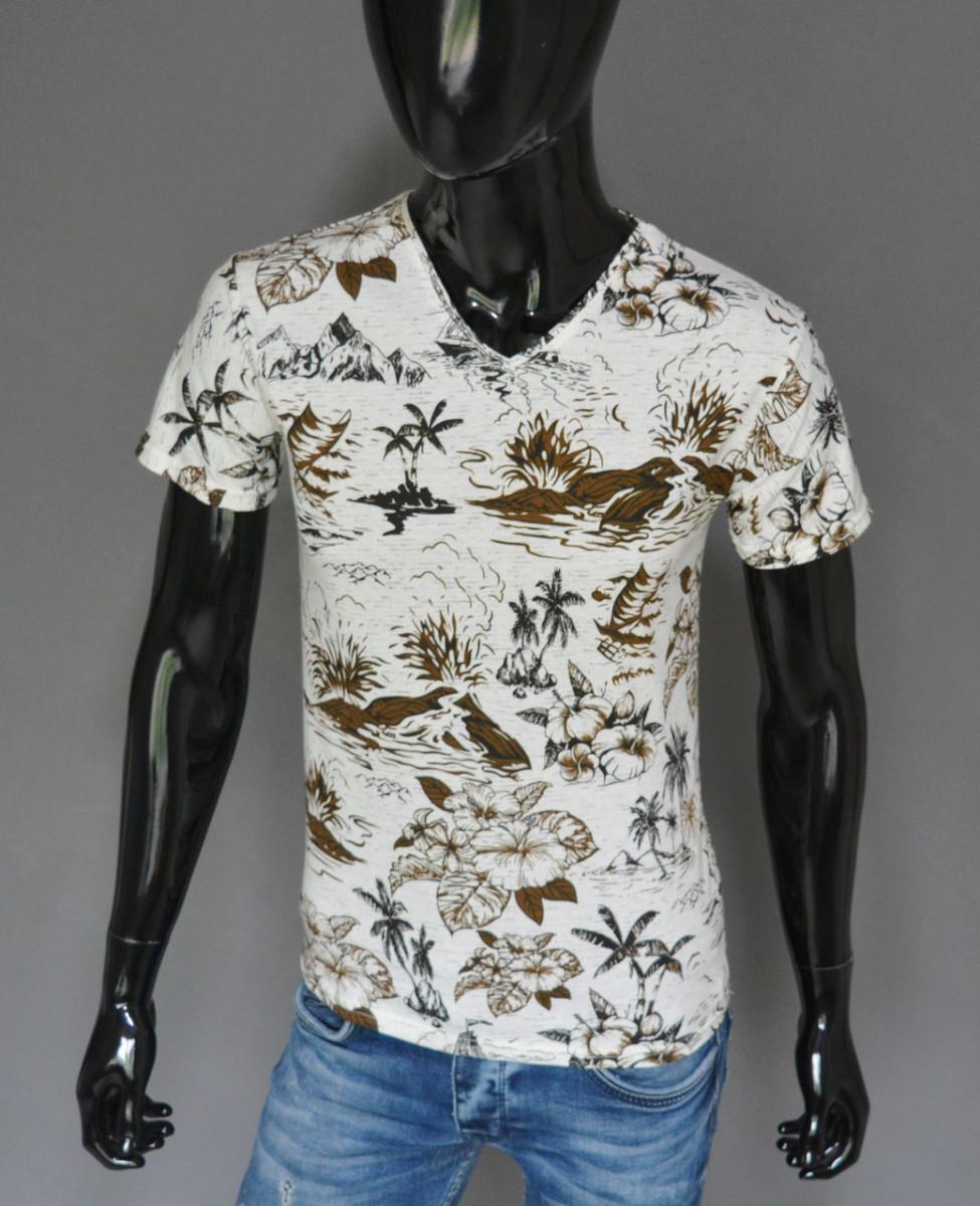 Мужская футболка белая с коричневым Турция 2416