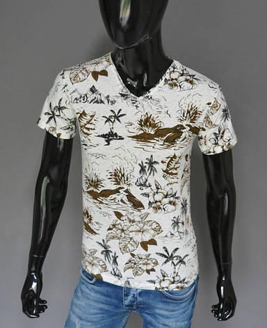 Мужская футболка белая с коричневым Турция 2416, фото 2