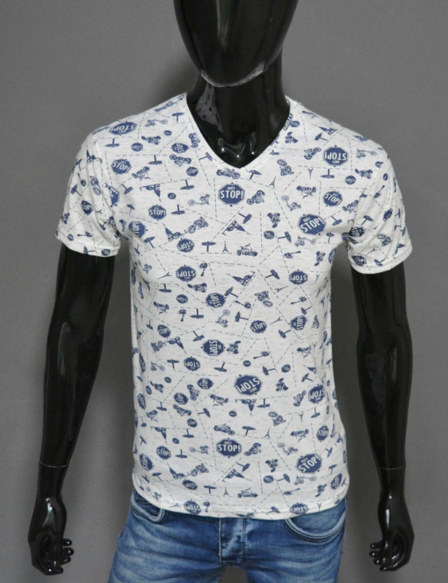 Мужская футболка белая стоп Турция 2421