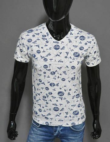 Мужская футболка белая стоп Турция 2421, фото 2