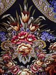 Воспоминания о лете 563-19, павлопосадский платок (шаль) из уплотненной шерсти с шелковой вязанной бахромой, фото 5