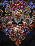 Воспоминания о лете 563-19, павлопосадский платок (шаль) из уплотненной шерсти с шелковой вязанной бахромой, фото 4