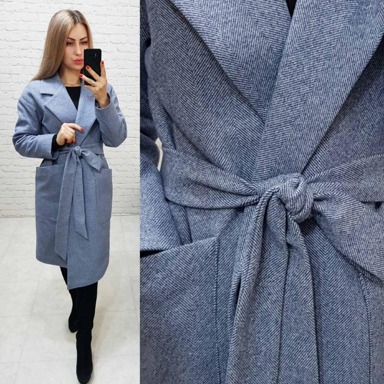 Кашемірове пальто утеплене на запах з кишенями,арт 175, колір сірий з ялинкою (2)