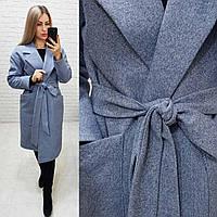Кашемірове пальто утеплене на запах з кишенями,арт 175, колір сірий з ялинкою (2), фото 1