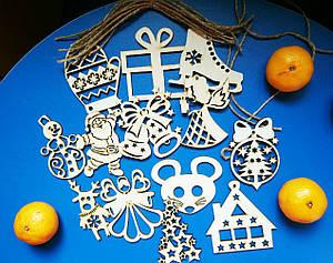 Набор деревянных игрушки на елку № 2 Светляччок (НИ 0002)