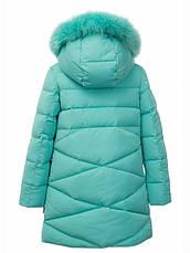 Детский зимний пуховик стеганный, натуральный мех, для девочки от Donilo 5301   на рост 122-140р., фото 2
