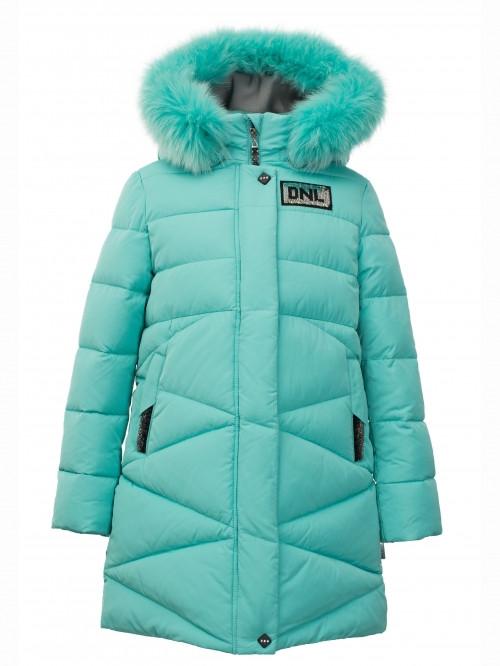 Детский зимний пуховик стеганный, натуральный мех, для девочки от Donilo 5301   на рост 122-140р.