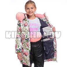 Детское зимнее пальто принт цветы, на флисе для девочки от Kiko (кико) 4519   на рост 122-140р., фото 3