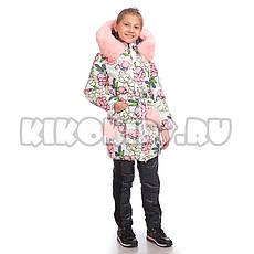Детское зимнее пальто принт цветы, на флисе для девочки от Kiko (кико) 4519   на рост 122-140р., фото 2