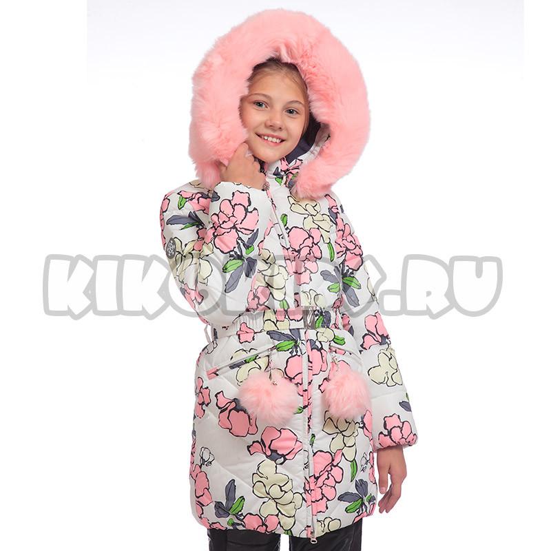 Детское зимнее пальто принт цветы, на флисе для девочки от Kiko (кико) 4519   на рост 122-140р.