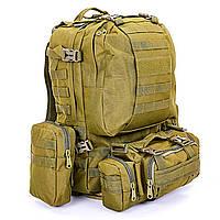 Рюкзак тактический рейдовый SILVER KNIGHT 55 литров хаки TY-213