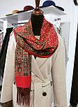 Медея 1473-55, павлопосадский шарф шерстяной  с шелковой бахромой, фото 6