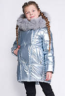Зимняя куртка для девочки DT-8283-20 серебро
