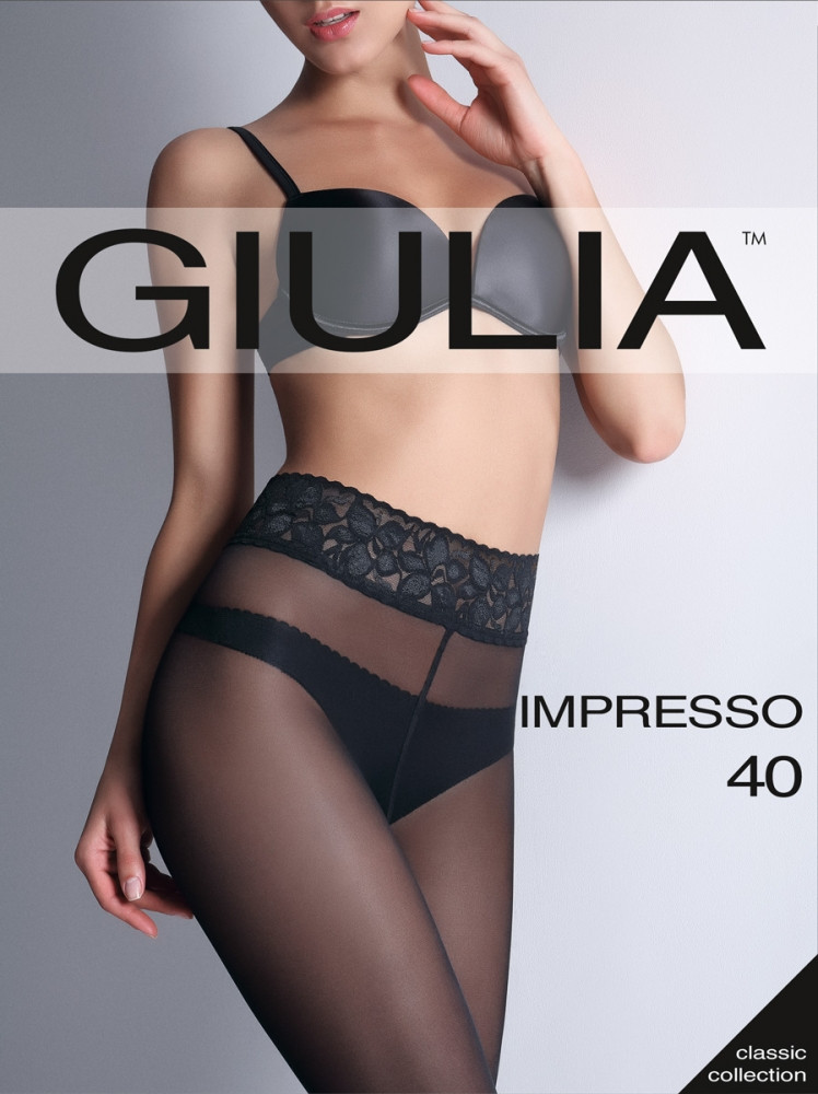 Колготки Giulia IMPRESSO 40 den с кружевным поясом на силиконовой основе