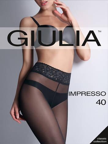 Колготки Giulia IMPRESSO 40 den с кружевным поясом на силиконовой основе, фото 2
