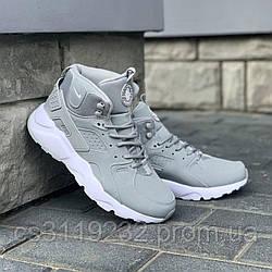 Мужские кроссовки зимние Nike Air Huarache MID Winter термо (серые)