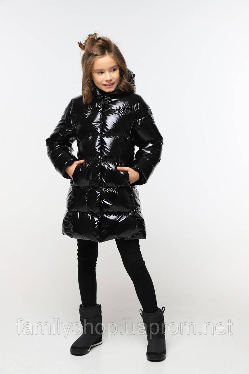 Зимнее пальто из лаковой плащевки  на девочку Микель нью вери (Nui Very)