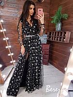 Платье в пол женское красивое с разрезом и поясом Sms3797, фото 1