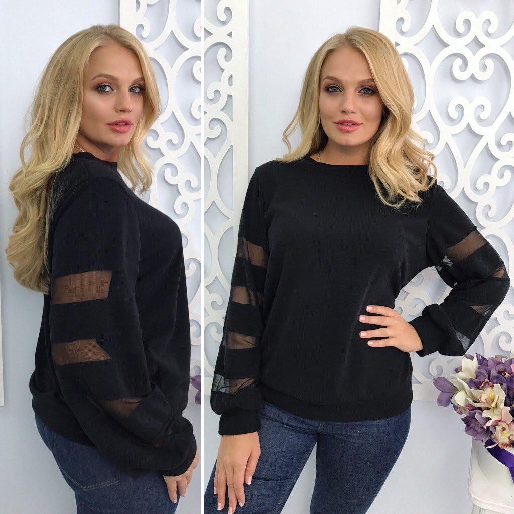 Женский черный свитер  большого размера 48-66