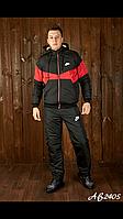 Зимний костюм мужской куртка и брюки Найк цвет брюки черные вставка куртка красная