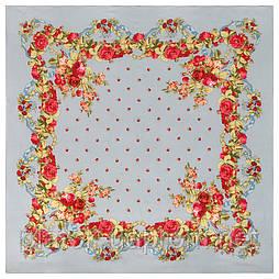 10877-1 (Свадебные ленты), павлопосадский платок из вискозы с подрубкой