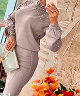 Женский костюм с жемчугом вязаный в размере 48-52