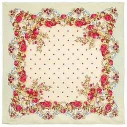 10877-2 (Весільні стрічки), павлопосадский хустку з віскози з подрубкой