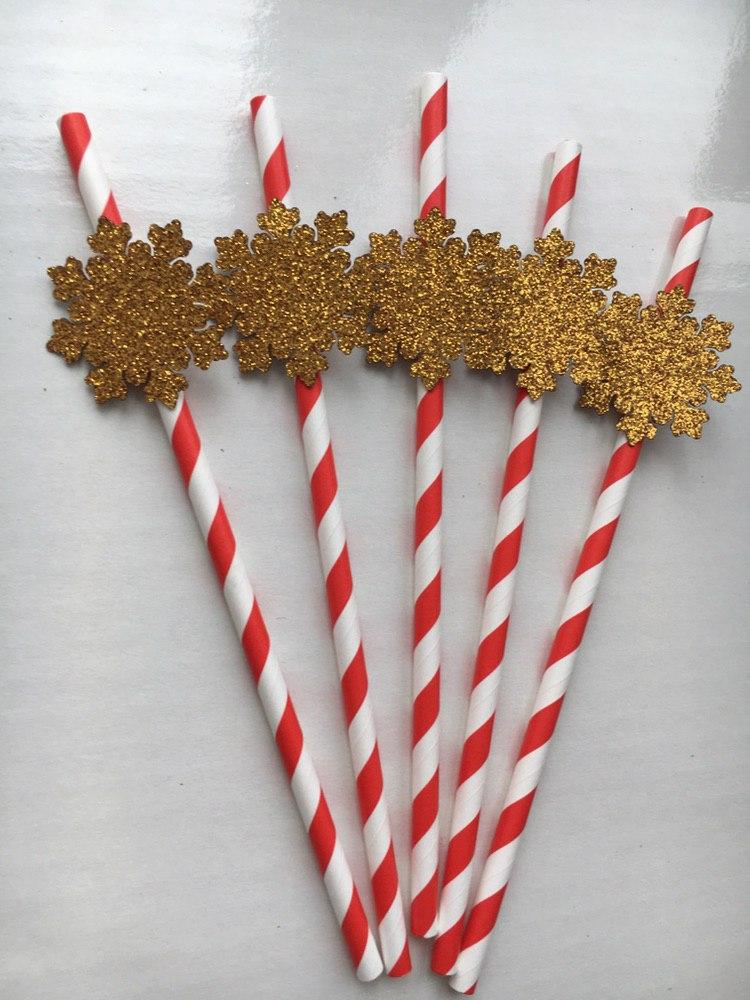 Бумажные трубочки  Снежинки золото (5 шт)
