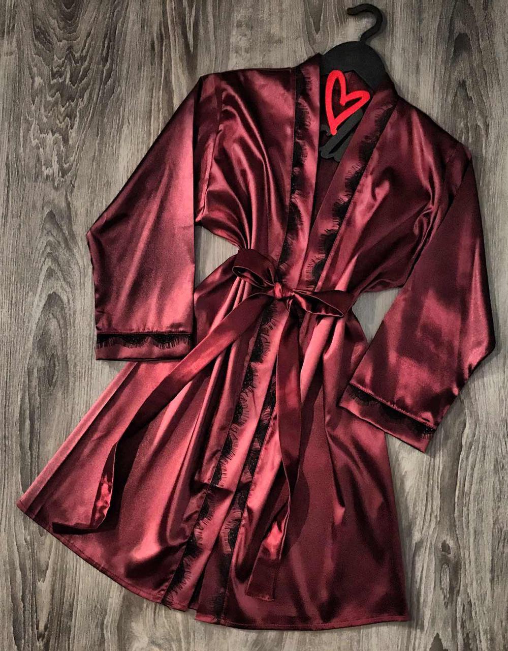 Вишневый шелковый халат с кружевом 090, домашняя одежда.