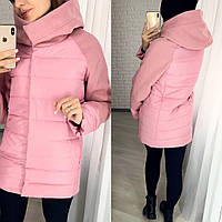 Зимняя женская куртка высокое горло+капюшон,вставки кашемир.