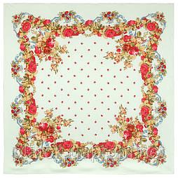 10877-11 (Свадебные ленты), павлопосадский платок из вискозы с подрубкой