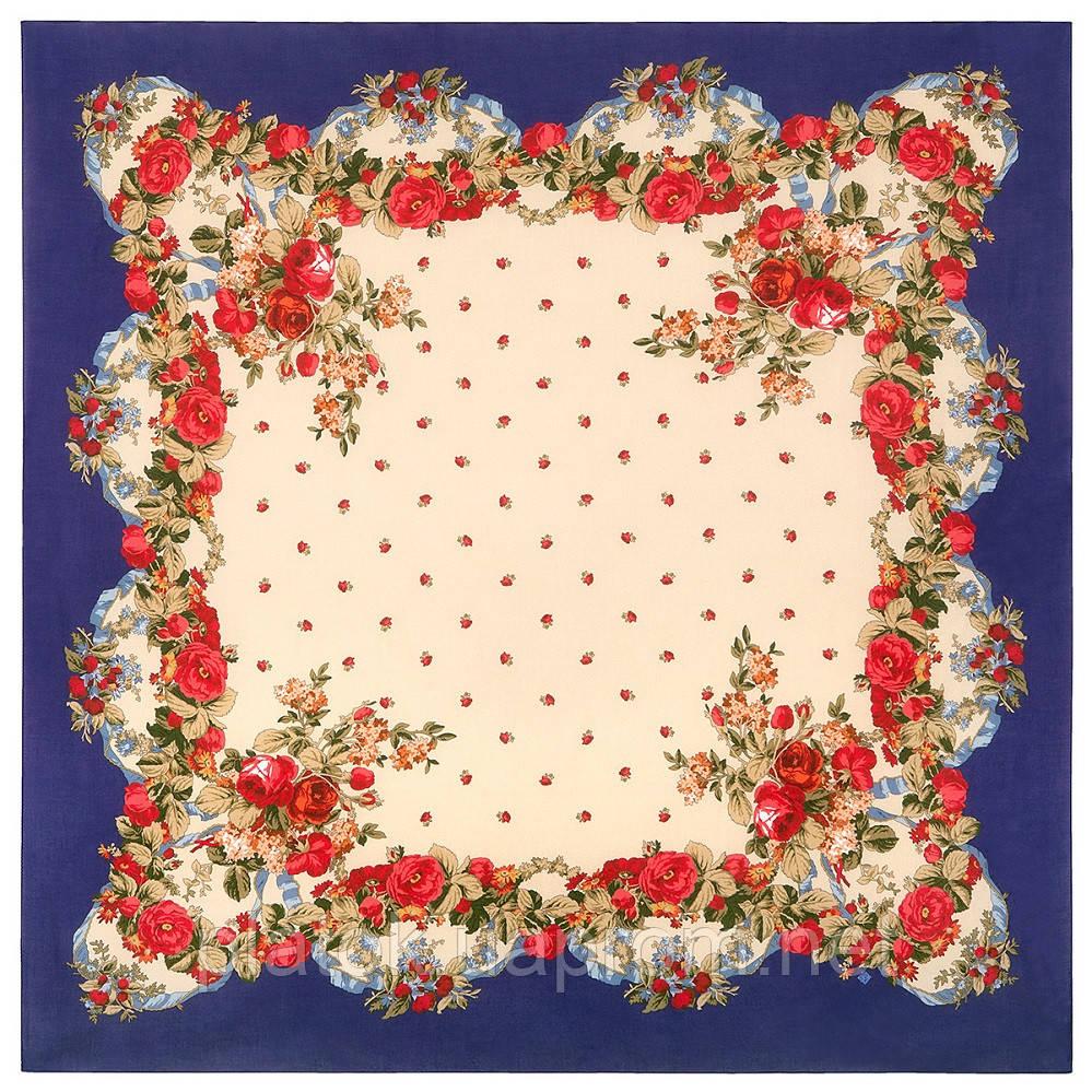 10877-13 (Свадебные ленты), павлопосадский платок из вискозы с подрубкой