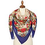 10877-13 (Свадебные ленты), павлопосадский платок из вискозы с подрубкой, фото 3