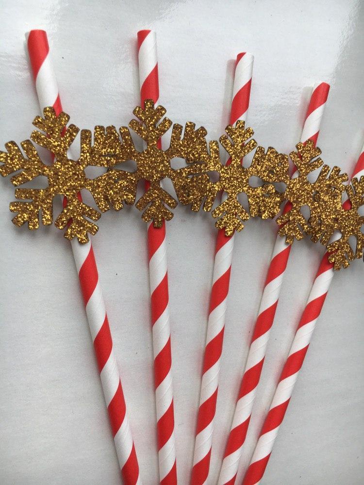 Бумажные трубочки Снежинки gold ( 5 шт)