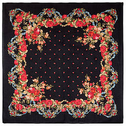 10877-18 (Свадебные ленты), павлопосадский платок из вискозы с подрубкой