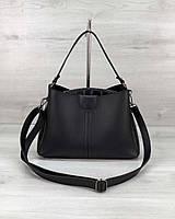 Сумка женская с ручкой! Маленькая черная сумочка 57404 модная на три отделения через плечо, фото 1