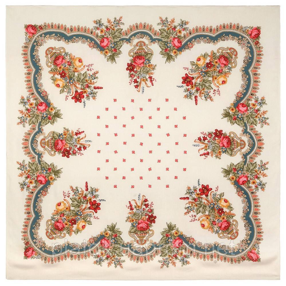 10878-2 (Вечер в парке), павлопосадский платок из вискозы с подрубкой
