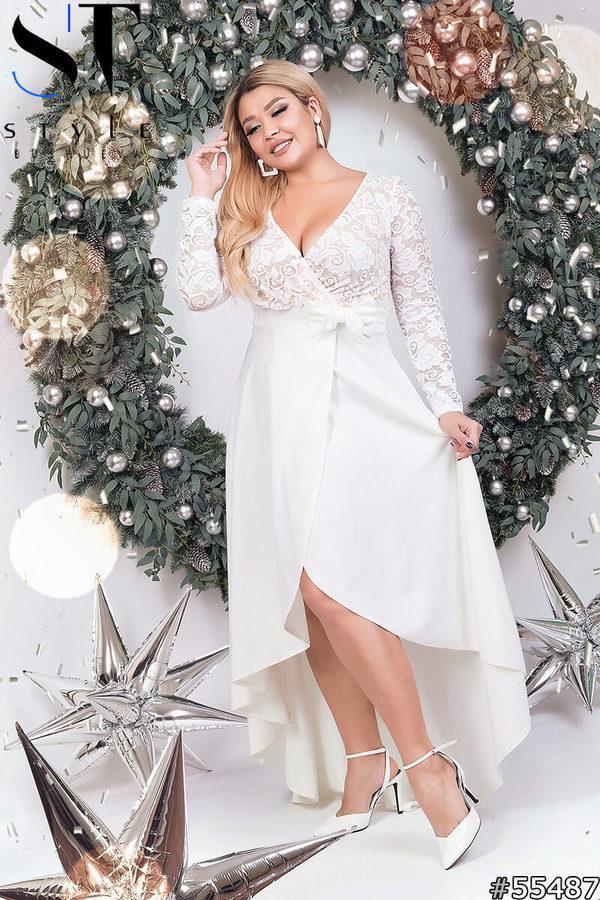 Женское вечернее платье с кружевным верхом и со шлейфом р. 48-52